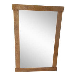Arts & Crafts Handmade Solid Oak Wall Mirror For Sale