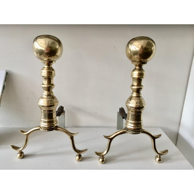 Antique Colonial Brass Andirons - A Pair - Image 3 of 6