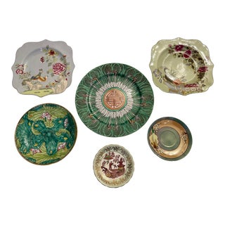 Green Asian Mixed Decorative Plates- a Set of 6 For Sale