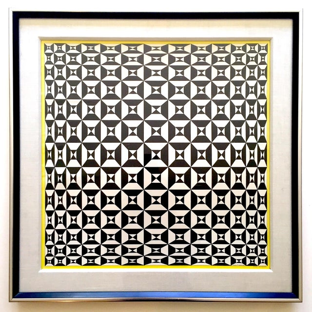 """Edna Andrade Rare Vintage 1969 Mid Century Modern Framed Op Art Lithograph Print """" Black Diamond """" 1967 For Sale - Image 13 of 13"""