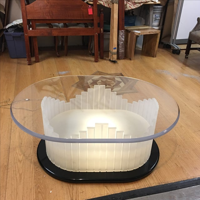 White Vintage Art Deco Lucite Lighted Base Coffee Table For Sale - Image 8 of 10