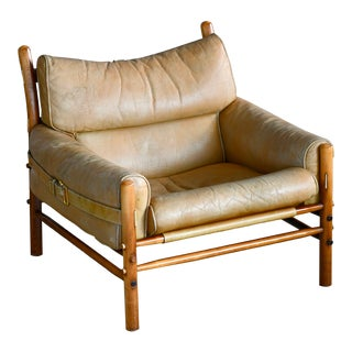 Arne Norell 1960s Safari Easy Chair Low Model Inca in Patinated Tan Leather For Sale