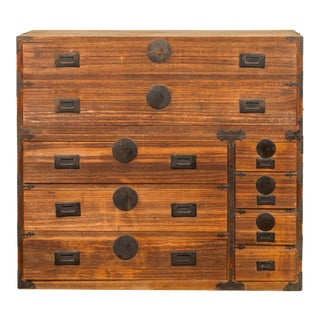Japanese 19th Century Meiji Kiri Wood Tansu Clothing Chest with Multiple Drawers For Sale