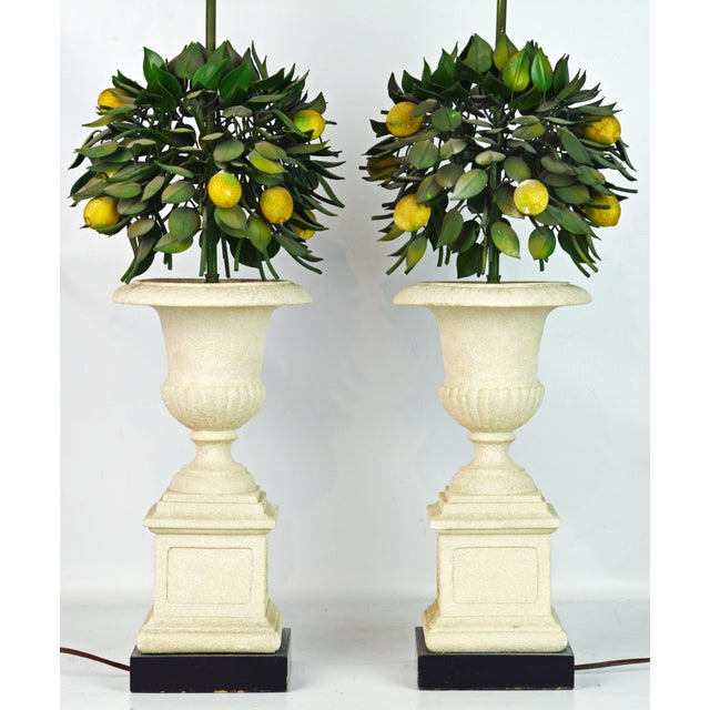 Italian Pair of Vintage Italian Painted Tole Lemon Bush Lamps in Cast Stone Urns For Sale - Image 3 of 13