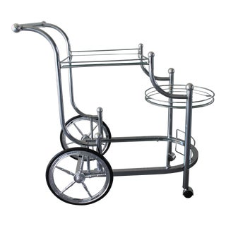 Vintage 3 Tier Rolling Bar Cart/ Tea Trolley For Sale