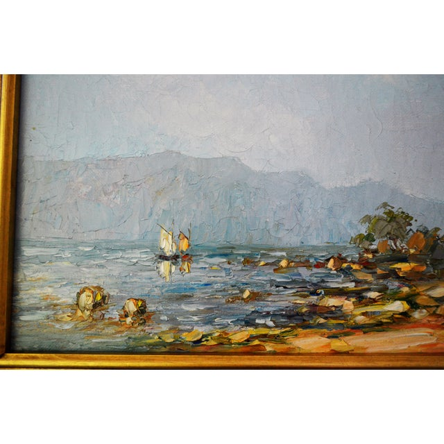 Blue Water Landscape Oil on Canvas Painting Plein Air Gold Frame For Sale - Image 10 of 12