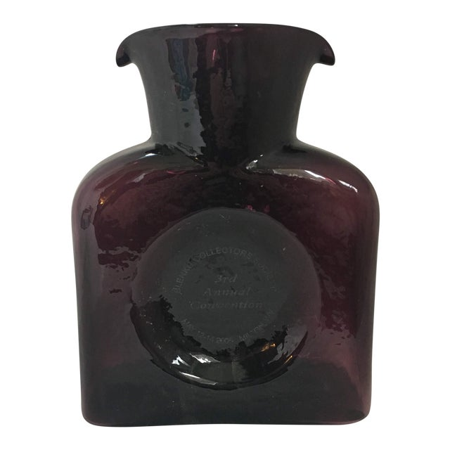 Commemorative Plum Colored Blenko Glass Decanter For Sale