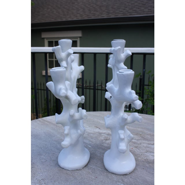 Vintage Palm Beach Style Coral Taper Candle Holders - a Pair For Sale In Dallas - Image 6 of 13