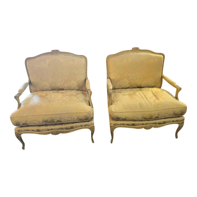 Louis XV Style Lounge Chairs by Maison Jansen - a Pair For Sale