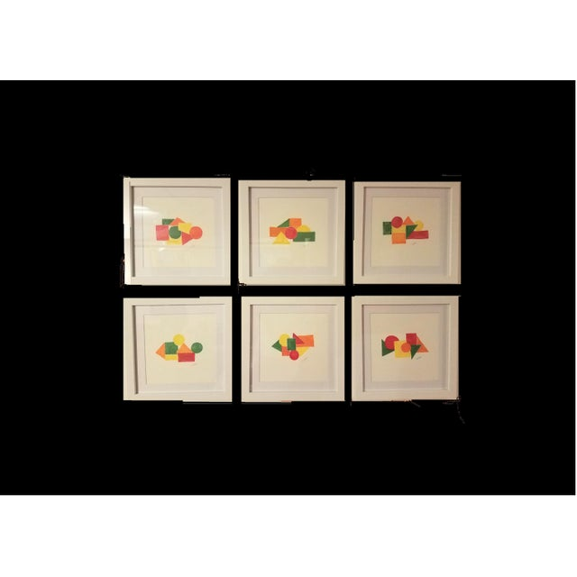 Red Geometric Hand Painted Framed Acrylics by Christine Frisbee - Set of 6 For Sale - Image 8 of 9