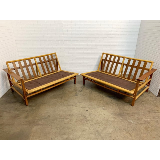 Vintage Ficks Reed Walnut With Rattan Sectional Sofas - A Pair For Sale - Image 12 of 12
