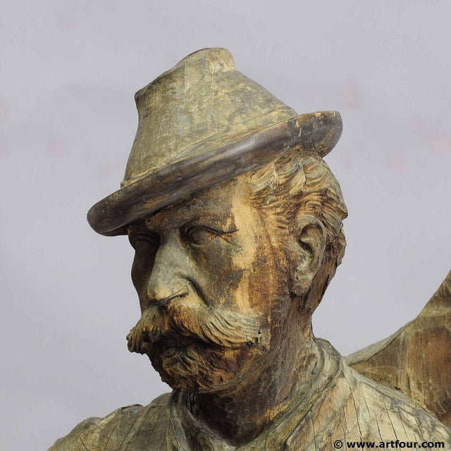 A Large Unfinished Black Forest Poacher With Ibex Carving For Sale - Image 6 of 12