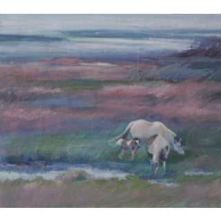 """Abstract Oil Pastel Painting """"Wild Horses"""", by Northwest Artist Lois Silver For Sale"""