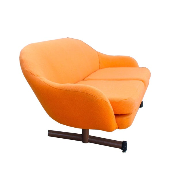 Abstract Mid-Century Mod Viko Baumritter Biomorphic Free Form Tangerine Orange Couch For Sale - Image 3 of 9