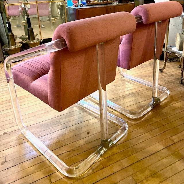 1970s Lucite Hollywood Regency Style Chairs-a Pair For Sale - Image 10 of 13