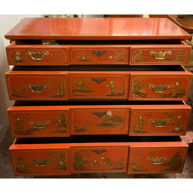 Chinese Red Chinoiserie Chest of Drawers by Baker Furniture C.1970s For Sale In San Francisco - Image 6 of 11