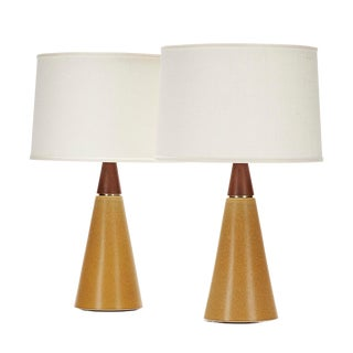 Wyatt Lamp in Warbler Egg Glaze With Walnut Cap - a Pair For Sale