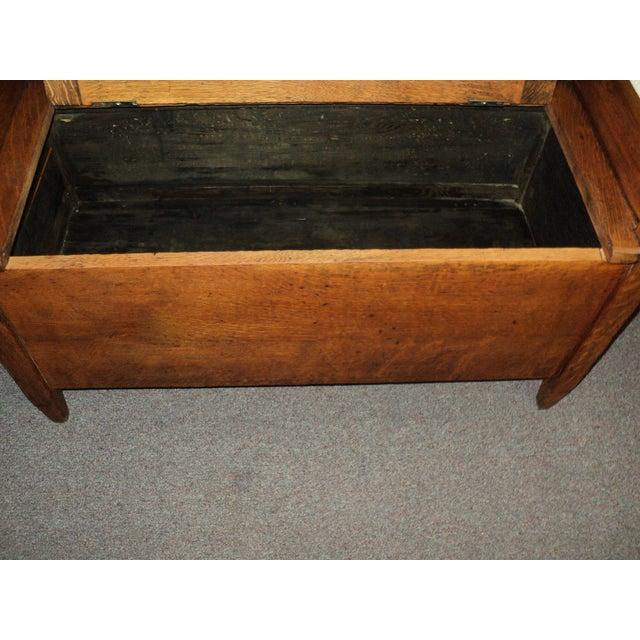 Oak Antique Arts & Crafts Mission Oak Hall Storage Bench For Sale - Image 7 of 9
