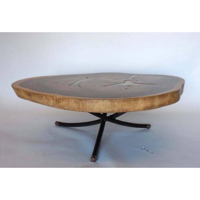 Free Form Organic Shape Coffee Table with Bronze Inlay By Dos Gallos Studio For Sale In Los Angeles - Image 6 of 6