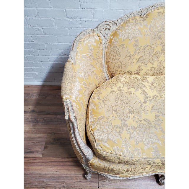 Wood 1930s Antique Victorian French Louis XV Style Couch For Sale - Image 7 of 13