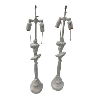 """Sirmos Giacometti Style """"Tete De Femme"""" Cast Plaster Table Lamps - a Pair For Sale"""
