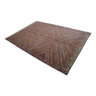 """Vintage Turkish Rug Hand Woven Wool Braided Cotton Area Rug Kilim - 7'1"""" X 12'1"""" For Sale"""