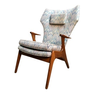 Vintage Mid Century Kurt Ostervig High Back Lounge Chair For Sale