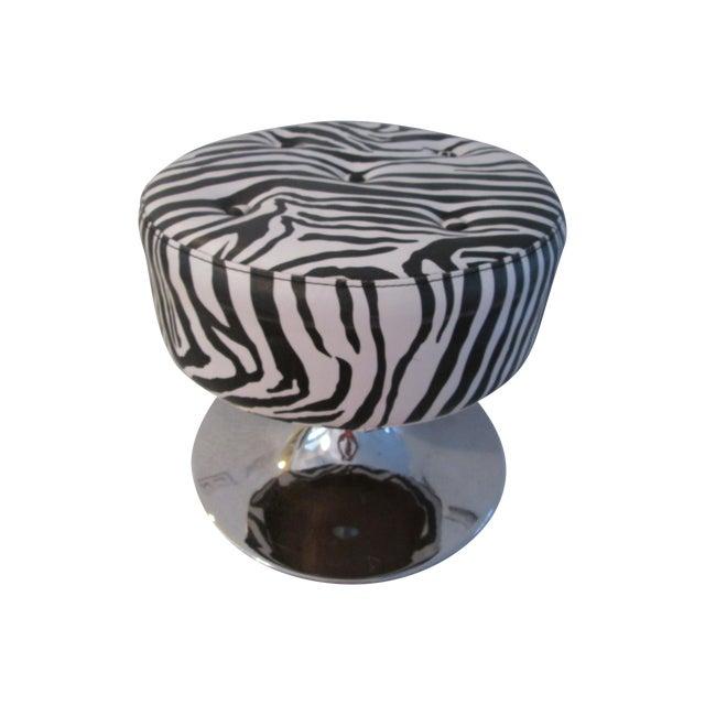 Black & White Zebra Print Chrome Ottoman For Sale
