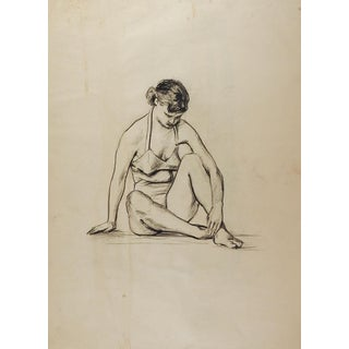 Drawing Seated Female Figure 1950's For Sale