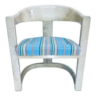 Original Karl Springer Goatskin Onassis Chair For Sale