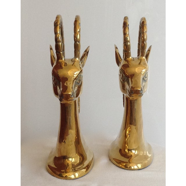Brass Ibex Bookends - Pair For Sale In West Palm - Image 6 of 7