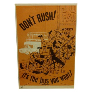 "Vintage ""Don't Rush"" British Safety Poster For Sale"