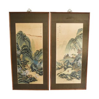 Original Asian Wood Panel Paintings - a Pair For Sale