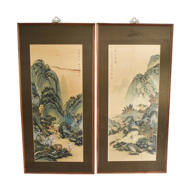 Original Asian Wood Panel Paintings - a Pair - Image 1 of 7