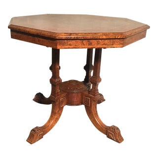 19th Century Traditional Octagon Burl Table With Inlay Detail For Sale