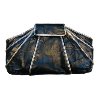 1980s Style -- New Kooba Oversized Black Leather Clutch For Sale