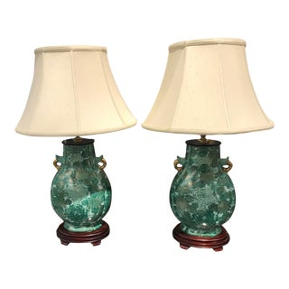 1980s Chinoiserie Green Lamps - a Pair For Sale