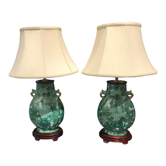 Chinoiserie Green Lamps - a Pair For Sale