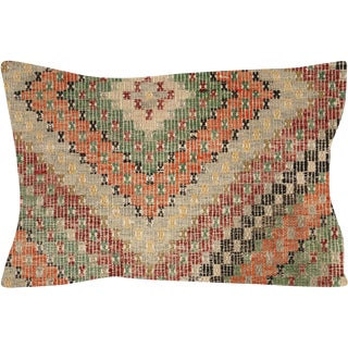 "Nalbandian - 1960s Turkish Cicim Lumbar Pillow - 16"" X 24"" For Sale"