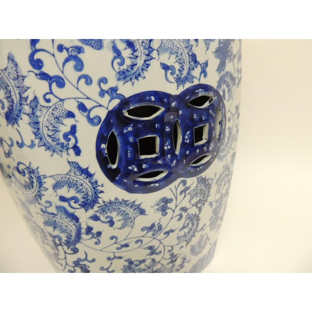 Vintage Blue & White Garden Stool - Image 6 of 7