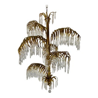 Antique 1940s Gold Draped Italian Crystal Chandelier