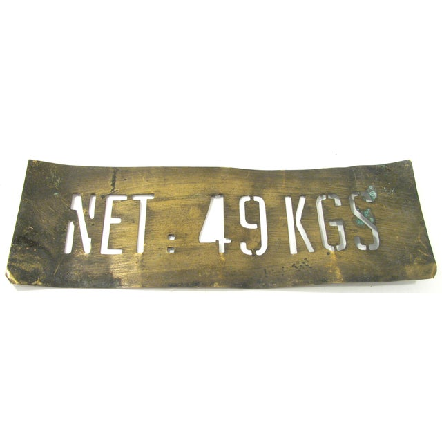 French Vintage French Brass Shipping Stencil For Sale - Image 3 of 3