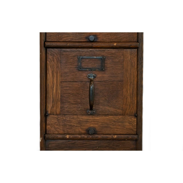 Antique Quartersawn Executive Wooden Filing Cabinet For Sale - Image 4 of 7