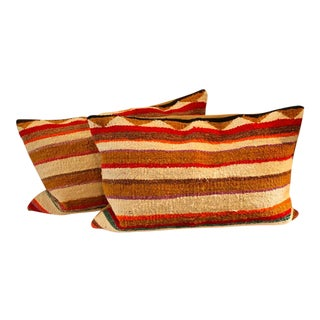 Pair of Navajo Indian Striped Saddle Blanket Weaving Pillows For Sale