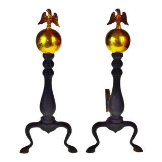 Vintage American Eagle Fire Dog Andirons - a Pair