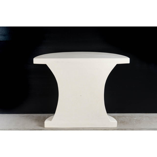 Robert Kuo Diva Half Round Table - Cream Lacquer by Robert Kuo, Hand Repousse, Limited Edition For Sale - Image 4 of 6