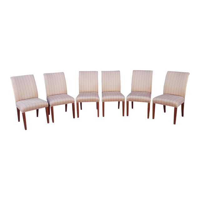 Set 6 Swaim Upholstered Parsons Style Dining Room Side Chairs #F-C219 W/ Larsen Baby Grand Pattern Fabric For Sale