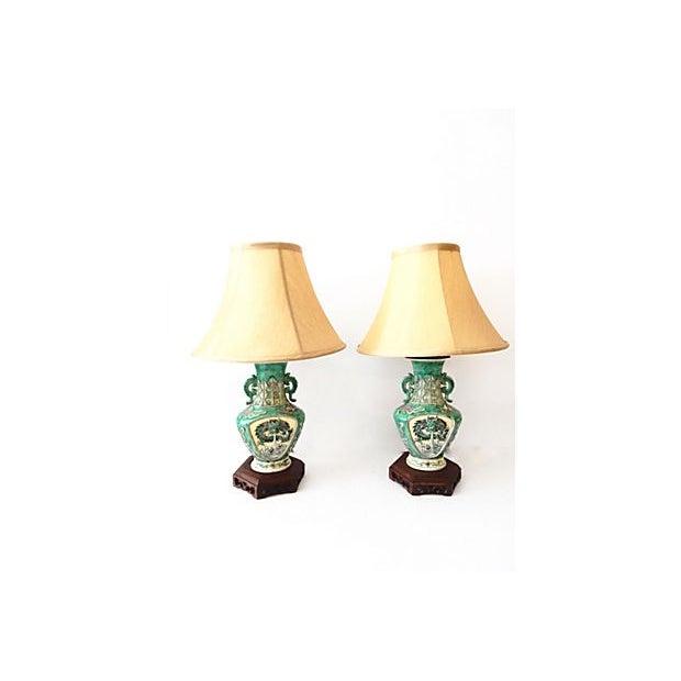 19th C. Porcelain Dragons Lamp - Pair - Image 8 of 10