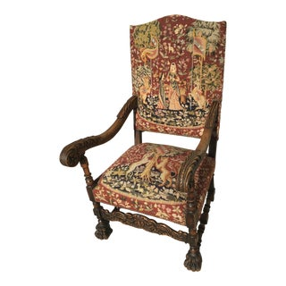 18th Century Needlepoint Throne Chair For Sale