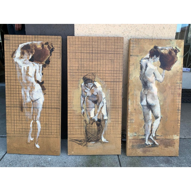 Original Nude Triptych, Mixed Media on Wood For Sale In Los Angeles - Image 6 of 6
